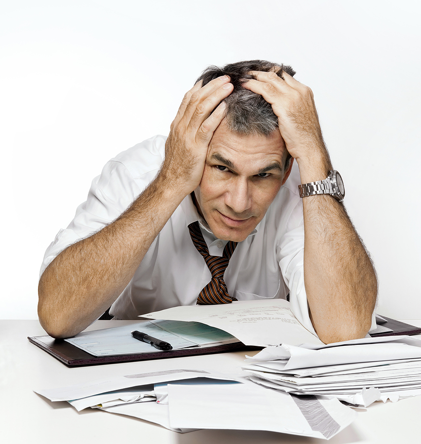 frustrated/overworked man